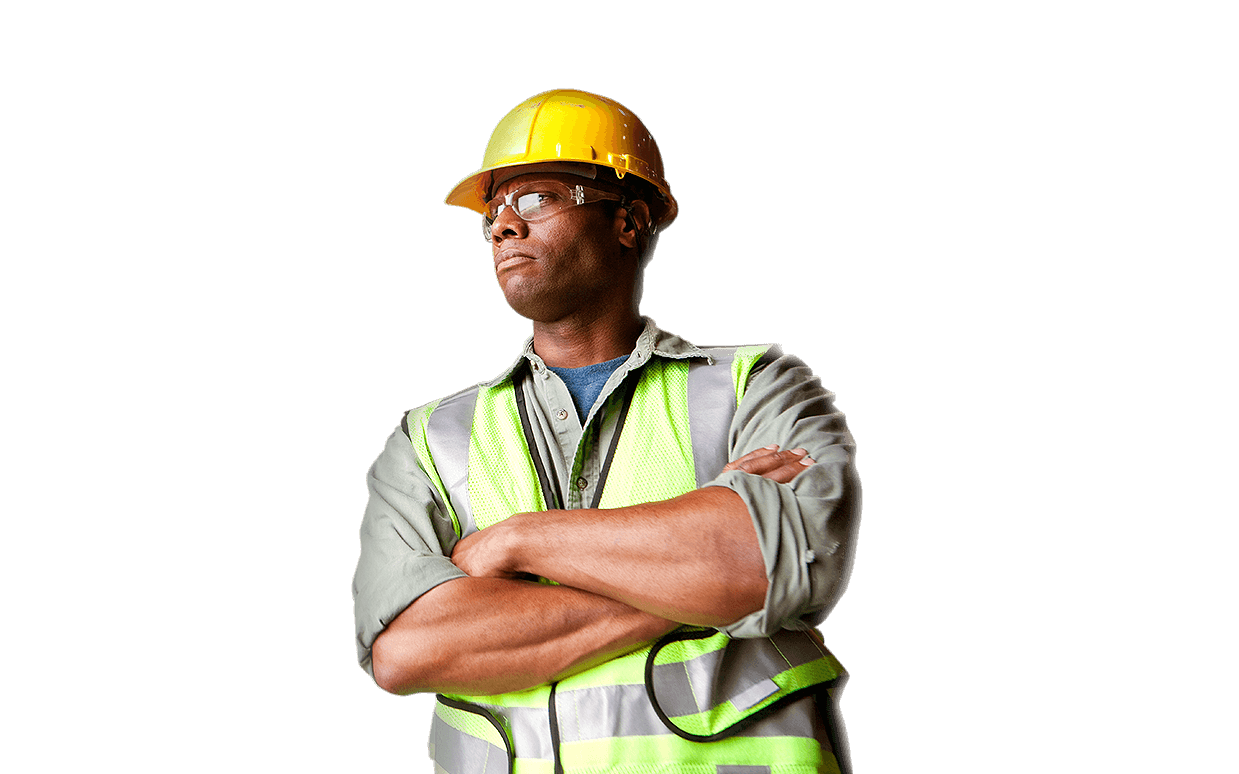 Man in hardhat and safety vest crossing arms