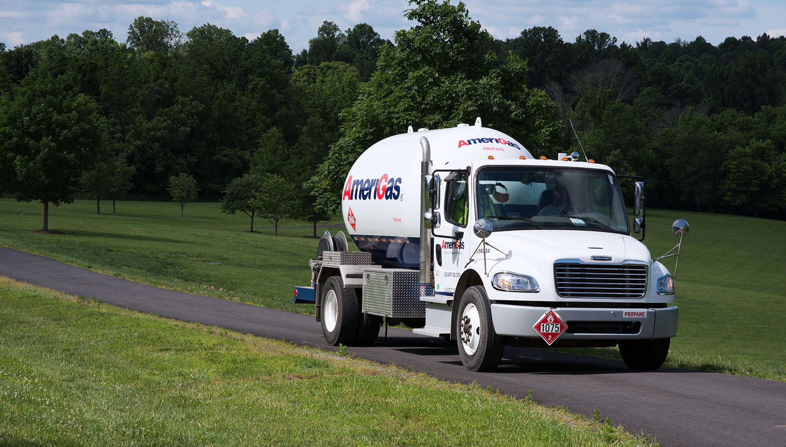 AmeriGas tanker truck on a rural road.