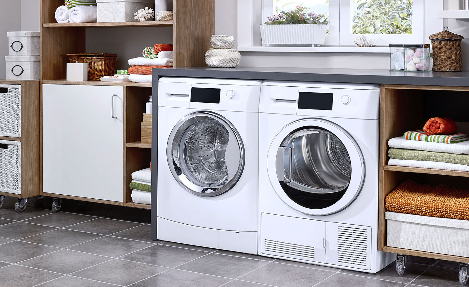 Household washer and dryer set.
