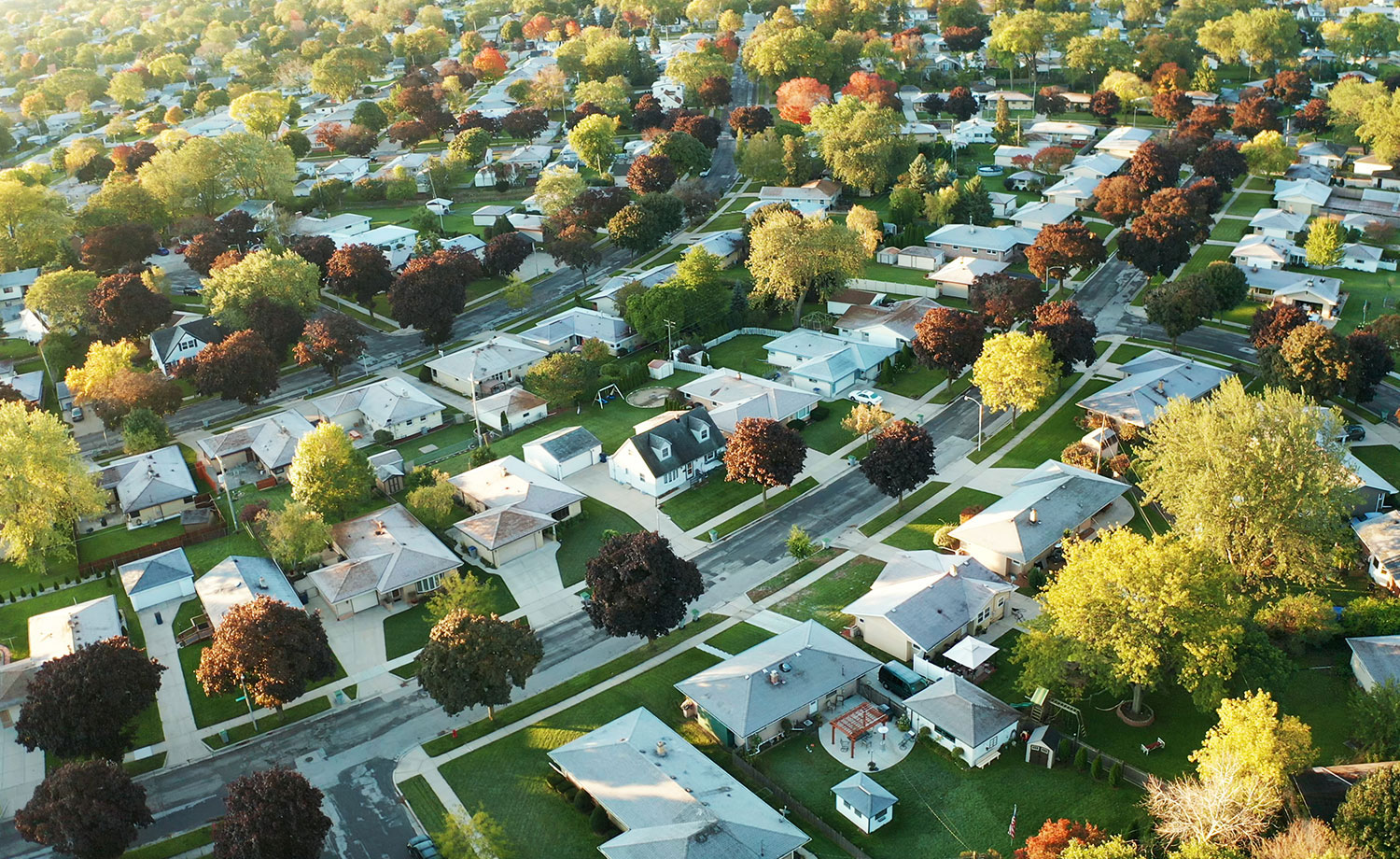 Aerial view of a neighborhood.