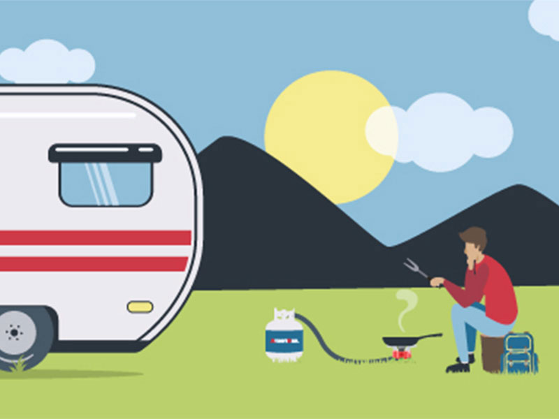 RV camping illustration.