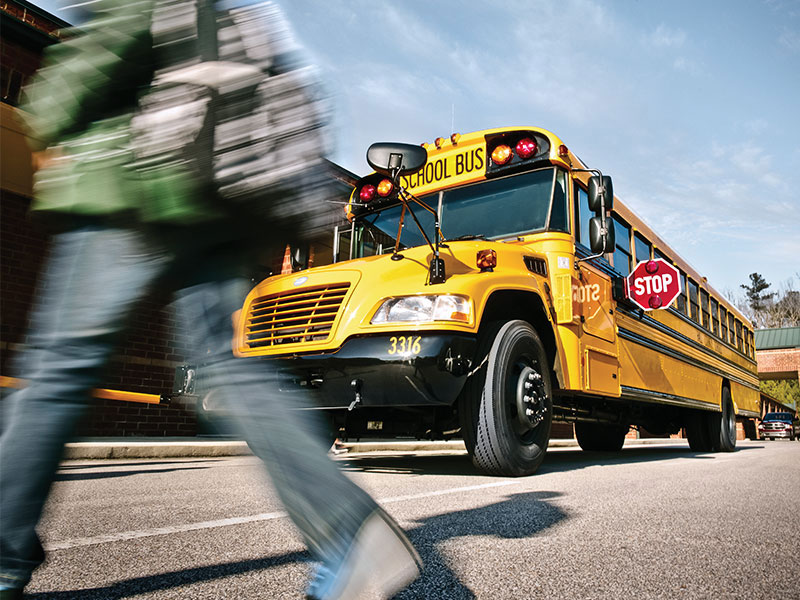 A stopped school bus.